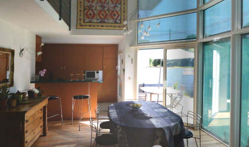 maison architecte bleue bioclimatique