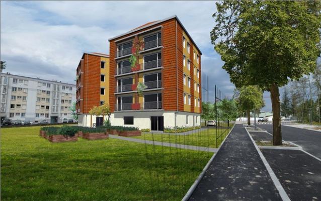 L'immeuble d'habitat participatif Chamarel est en cours de chantier à Vaulx-en-Velin. Crédit Agence Arkétype.