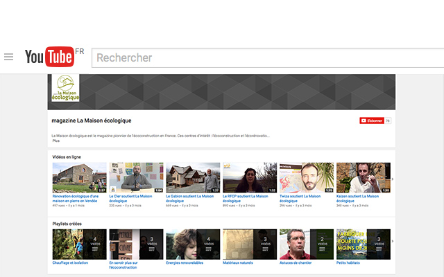 Chaîne Youtube du magazine La Maison écologique